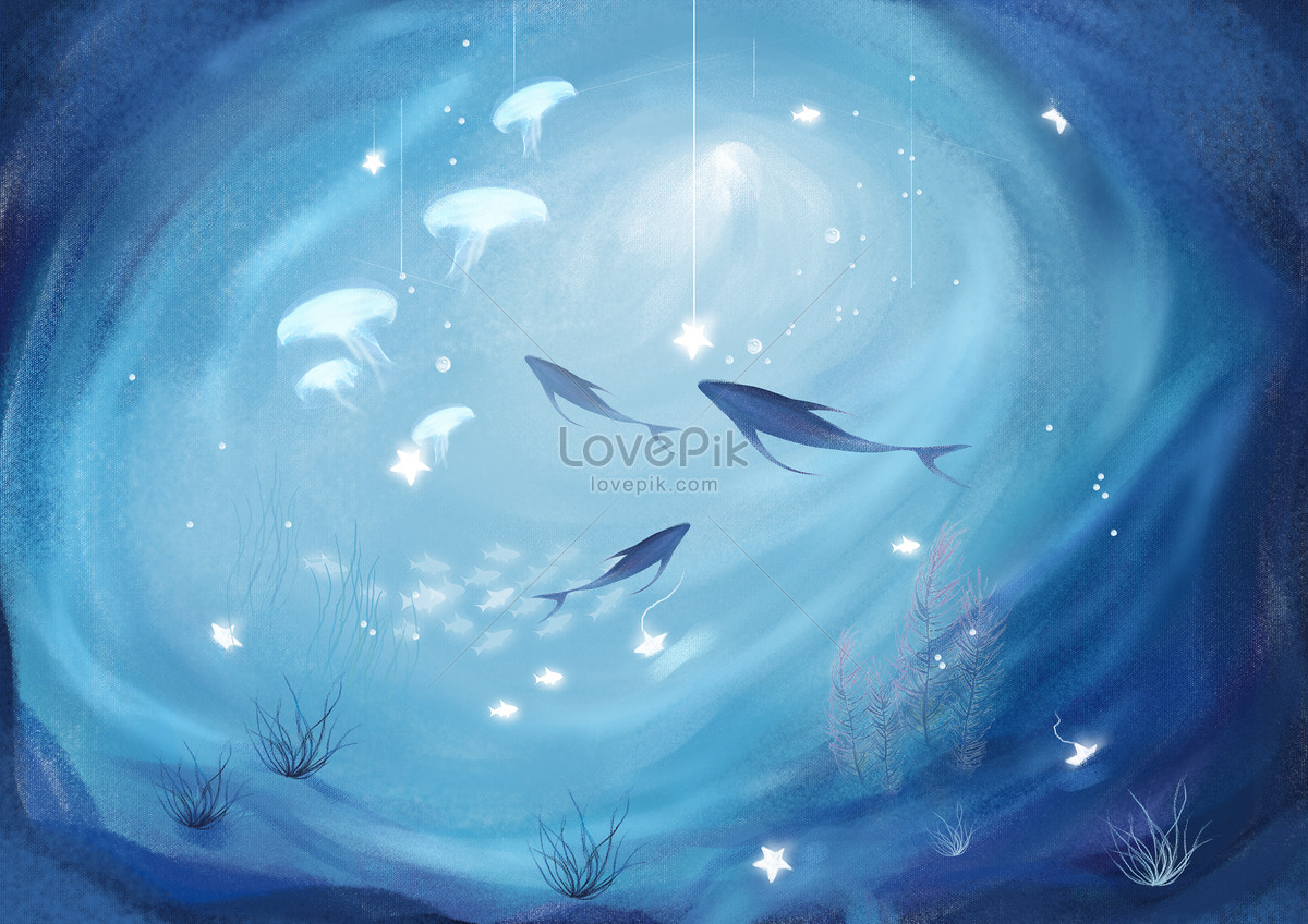 唯美蓝色背景海洋插画图片素材编号400071341_prf高清