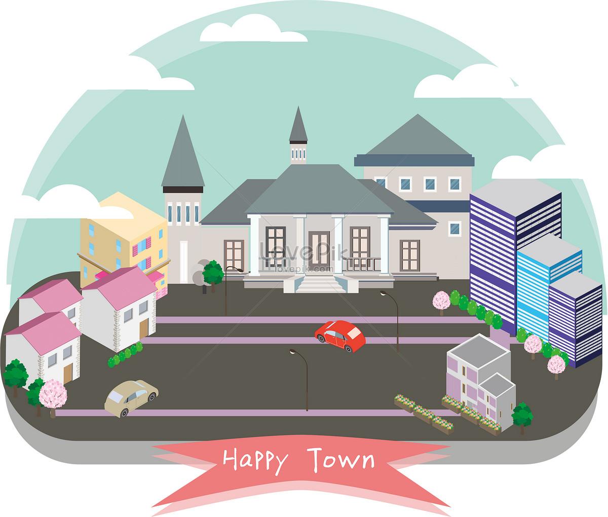 扁平城市矢量插画图片素材编号400100013_prf高清图片