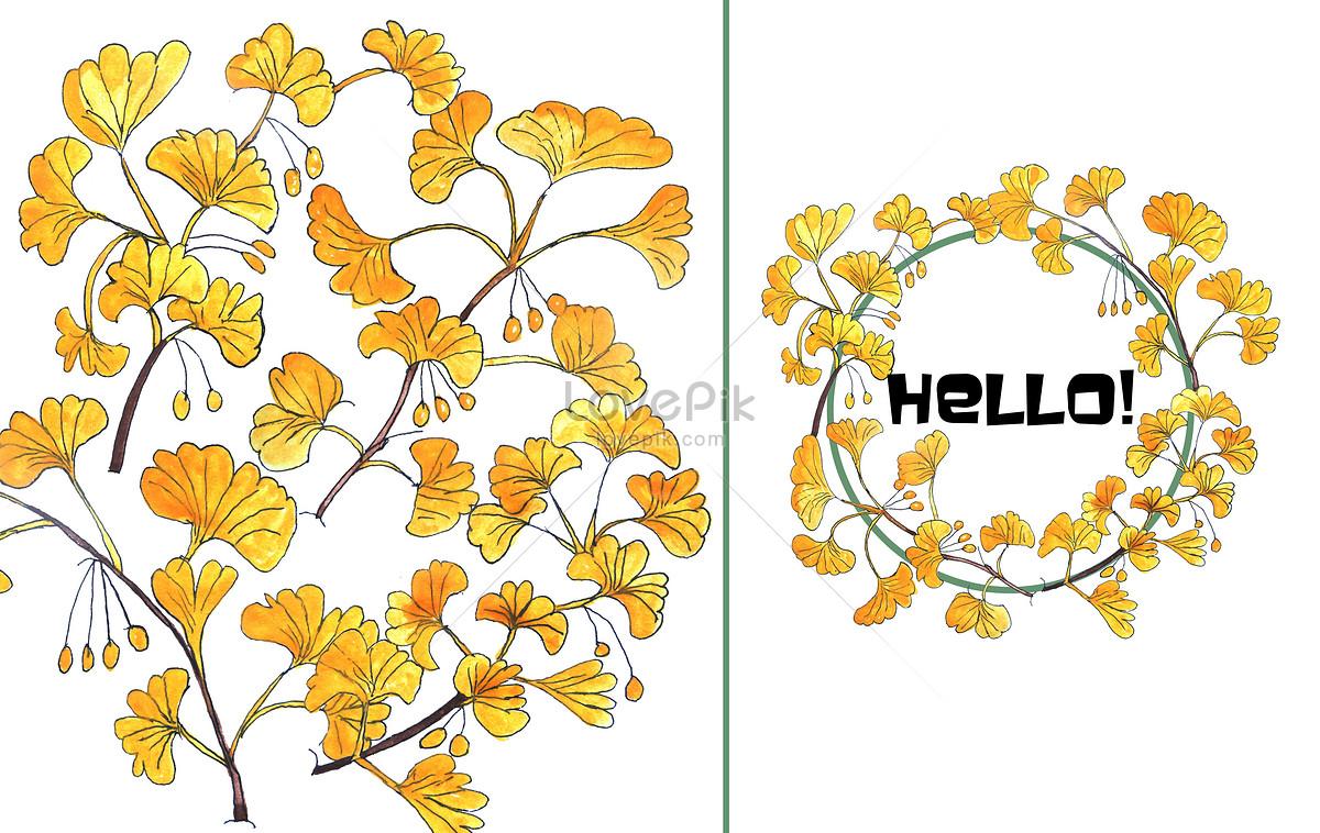 手绘水彩银杏树叶