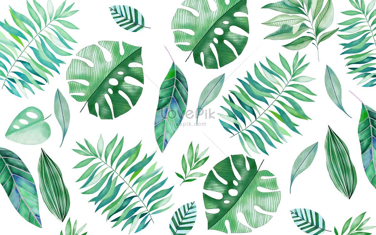 手绘热带叶子背景图片素材编号400121189_prf高清图片