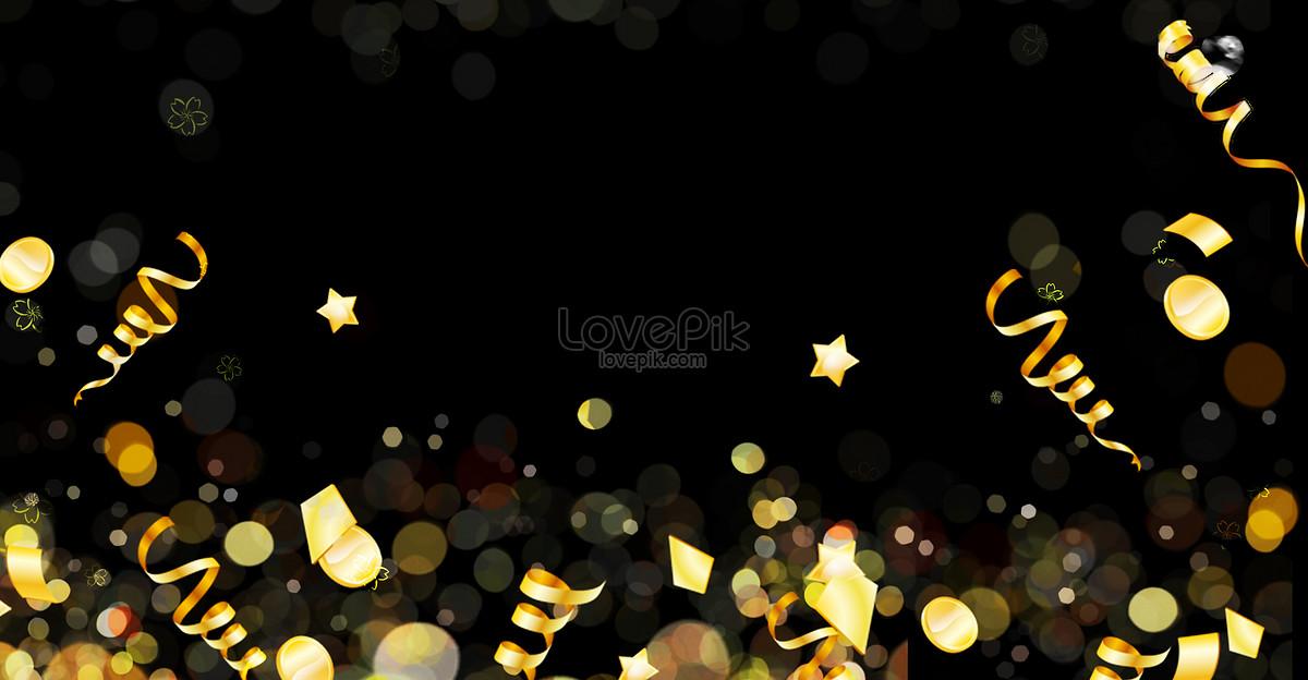 黑色金黄色彩带广告背景图片素材编号400133588_prf