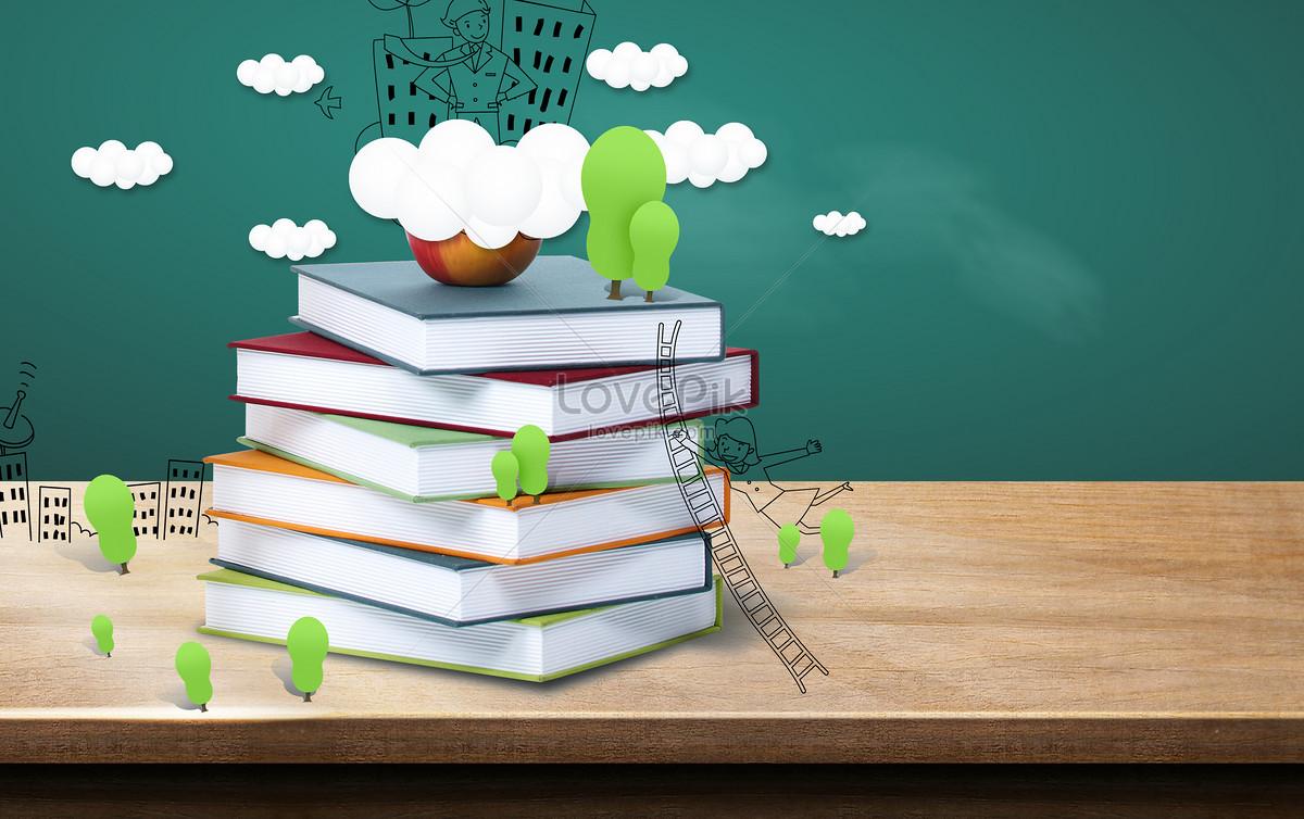 课桌书本创意背景图片素材编号400155674_prf高清图片