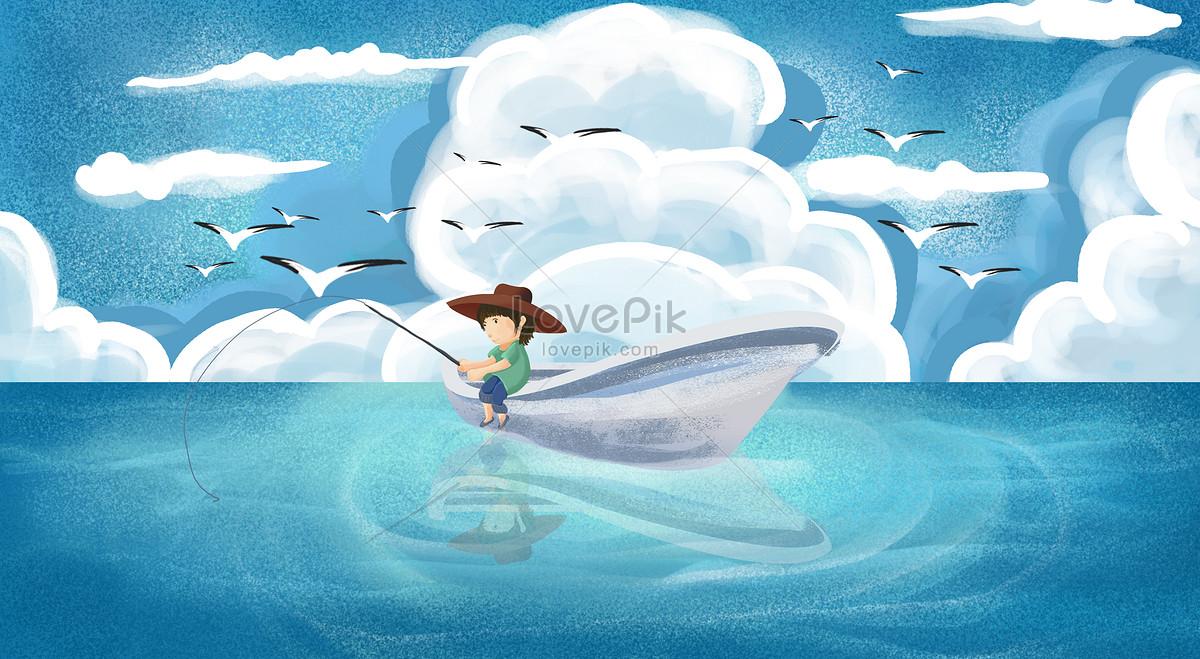 湖面上钓鱼的男孩儿图片素材编号400239560_prf高清