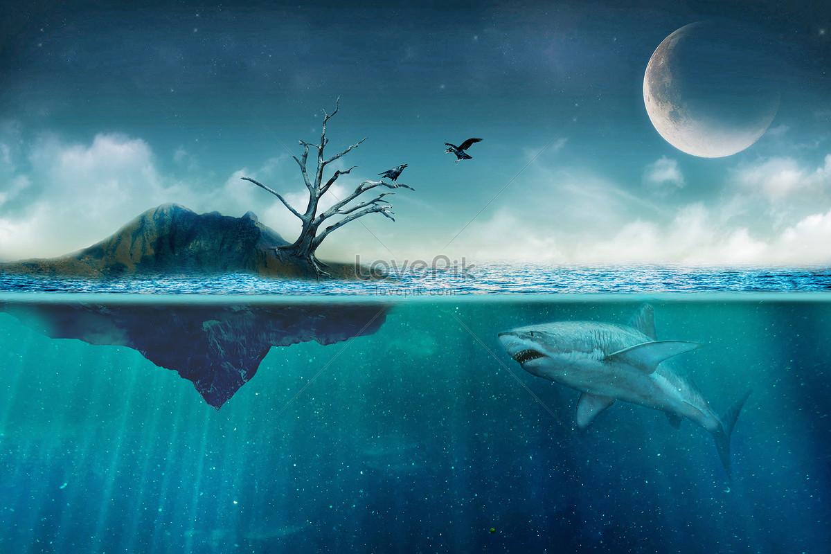 孤岛枯树孤寂背景图片素材编号400285455_prf高清图片