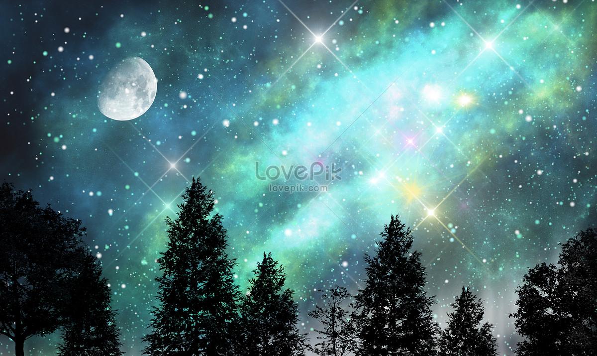星空月亮唯美背景图片素材编号400297452_prf高清图片