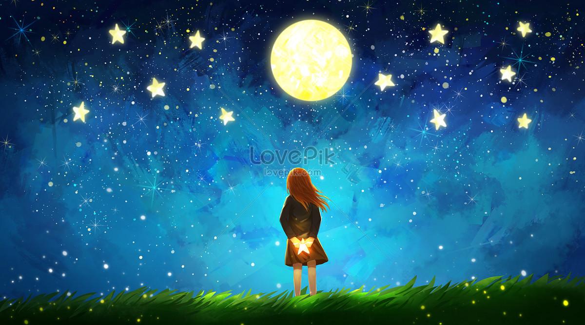 仰望星空的女孩图片素材编号400488286_prf高清图片
