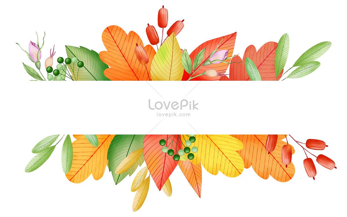 秋天手绘水彩枫叶背景