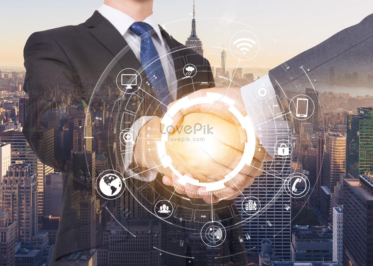 商业握手合作商务科技海报素材背景
