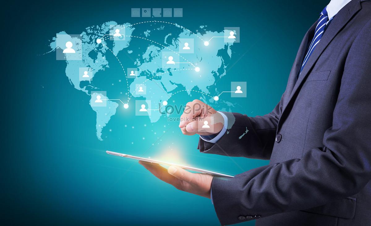商务科技互联网全球化背景设计素材
