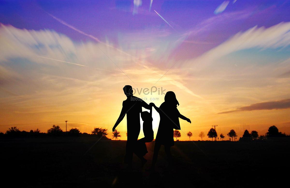 剪影 创意 夕阳 家庭 幸福 教育 智力 欢乐 父母 玩耍 男孩 童趣 亲子