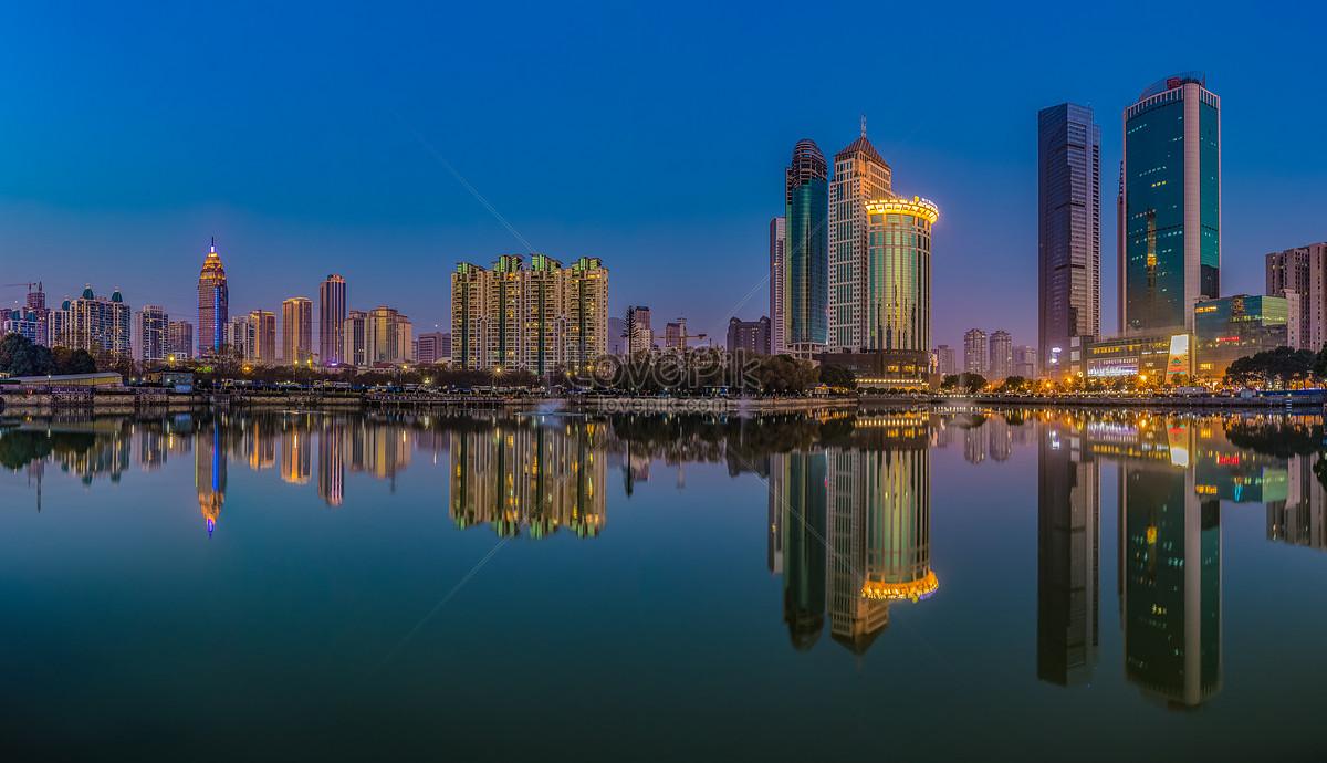 城市夜景倒影高清全景图图片素材编号500801984_prf