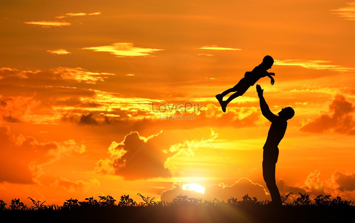 夕阳下父子剪影图片素材编号500833153_prf高清图片