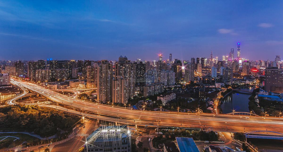 上海高架桥城市风光全景图图片素材编号500846863_prf