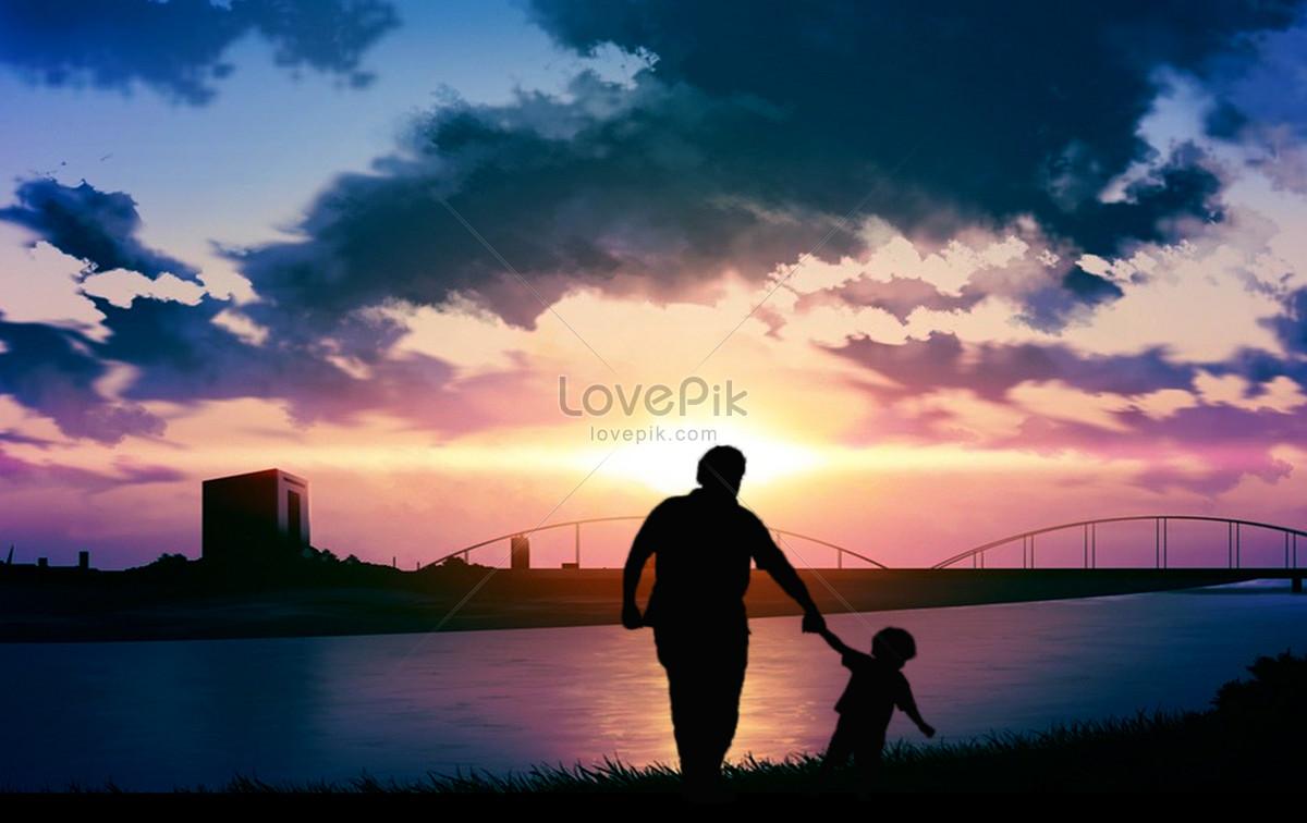 夕阳下父子剪影图片素材编号500852739_prf高清图片