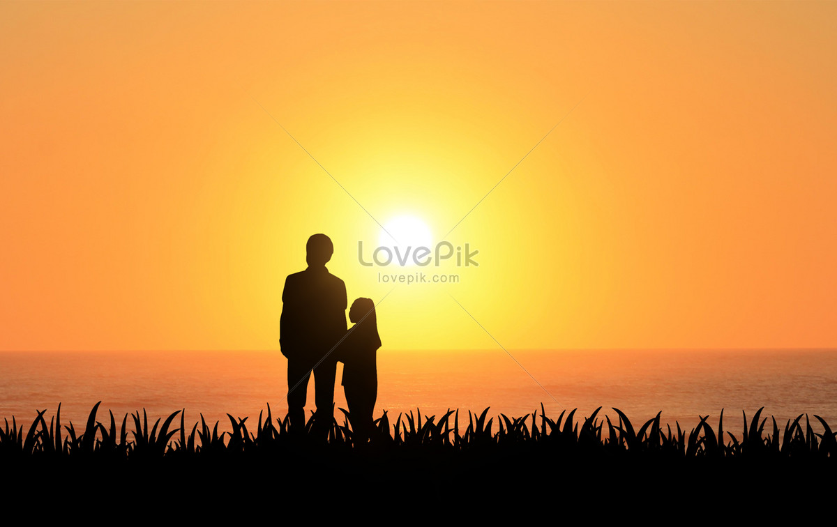 夕阳下的父女剪影图片素材编号500879490_prf高清图片