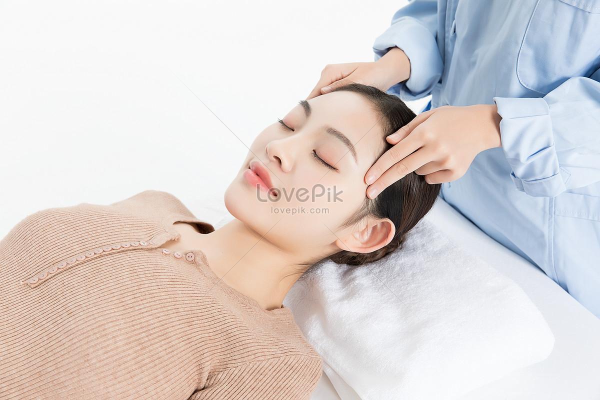 美女养生头部按摩图片素材编号501106579_prf高清图片