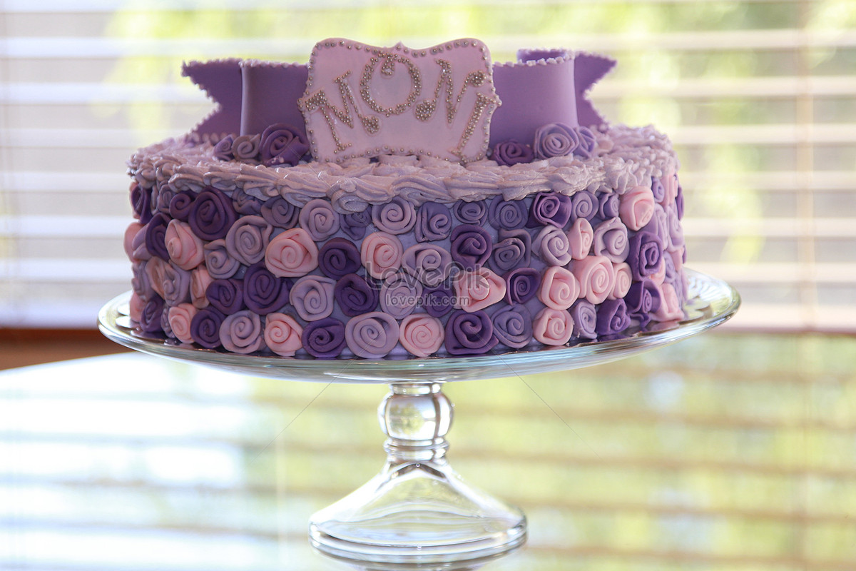 Purple Flower Birthday Cake Photo Imagepicture Free Download