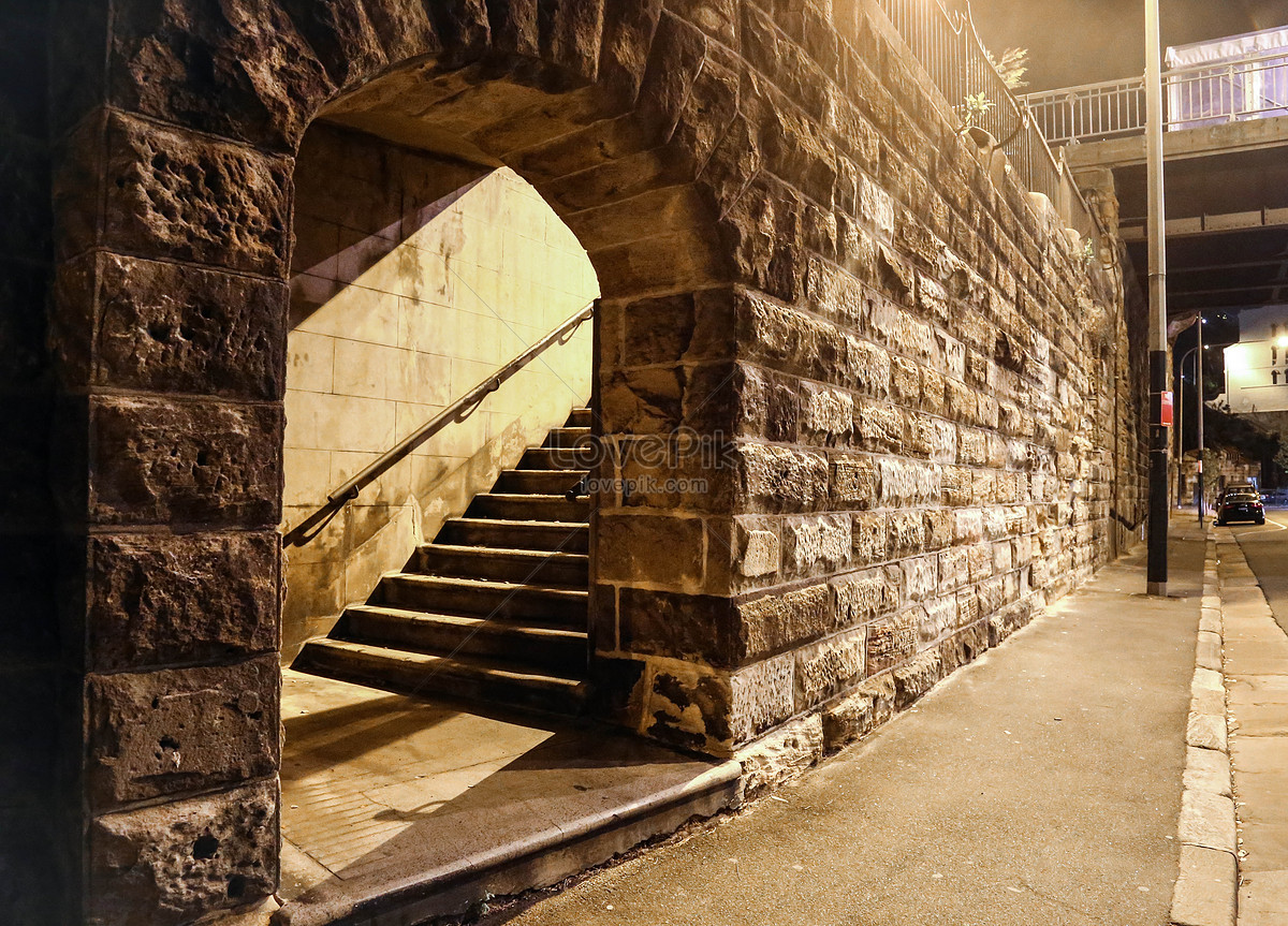 A Corner Of The Arched Staircase Near The Street