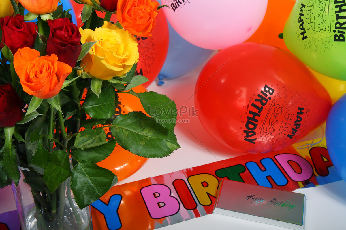 Coloured balloons and flowers photo imagepicture free download coloured balloons and flowers izmirmasajfo