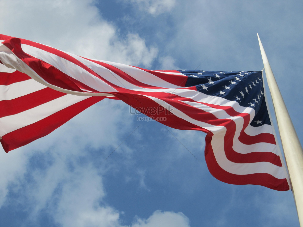 A fluttering american flag photo image_picture free download