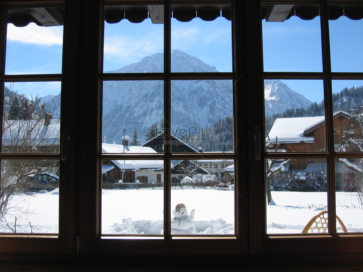 snow outside the window photo image picture free download