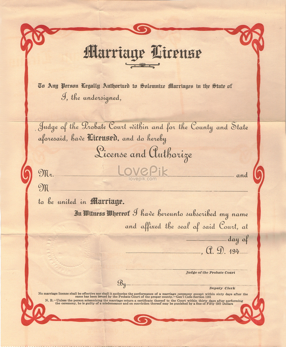 The Marriage Certificate Is About 1947 Photo Imagepicture Free