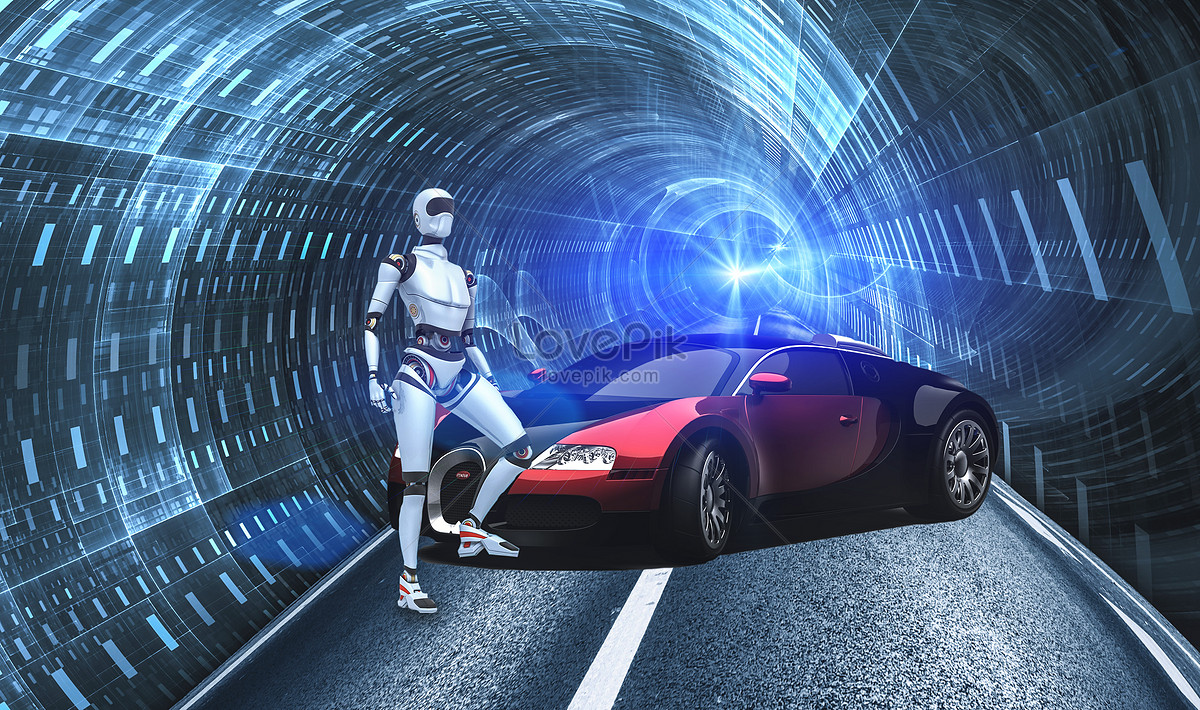 Robot Dan Kereta Teknologi Masa Depan Gambar Unduh Gratis Imej