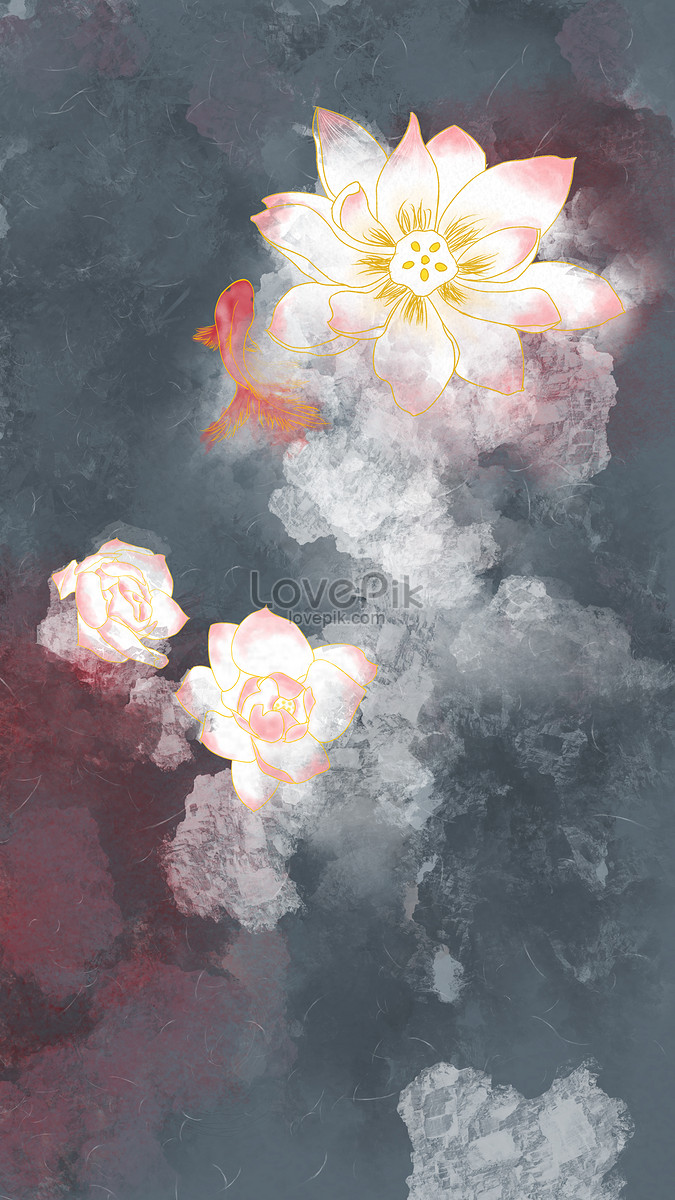 Chinese Wind And Hand Painted Goldfish And Lotus Flower Template