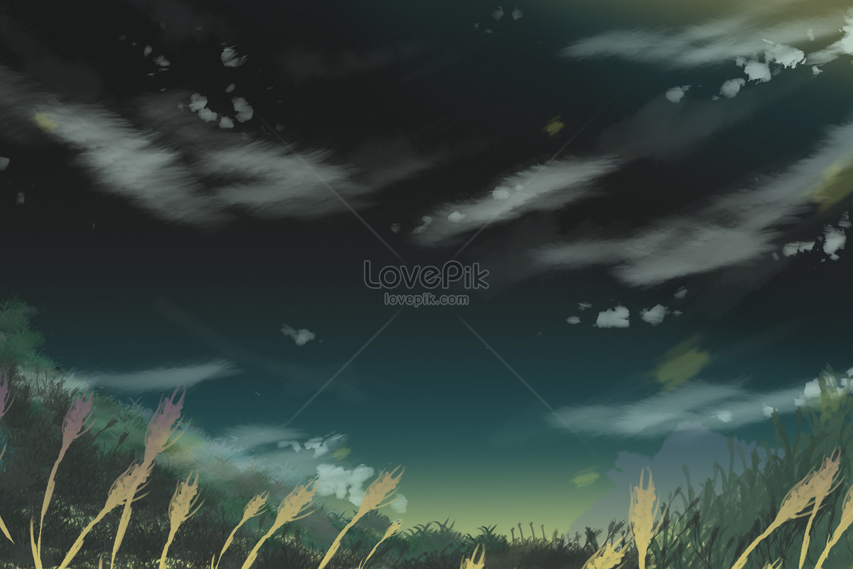 Ilustrasi Pemandangan Langit Malam Gambar Unduh Gratis Imej