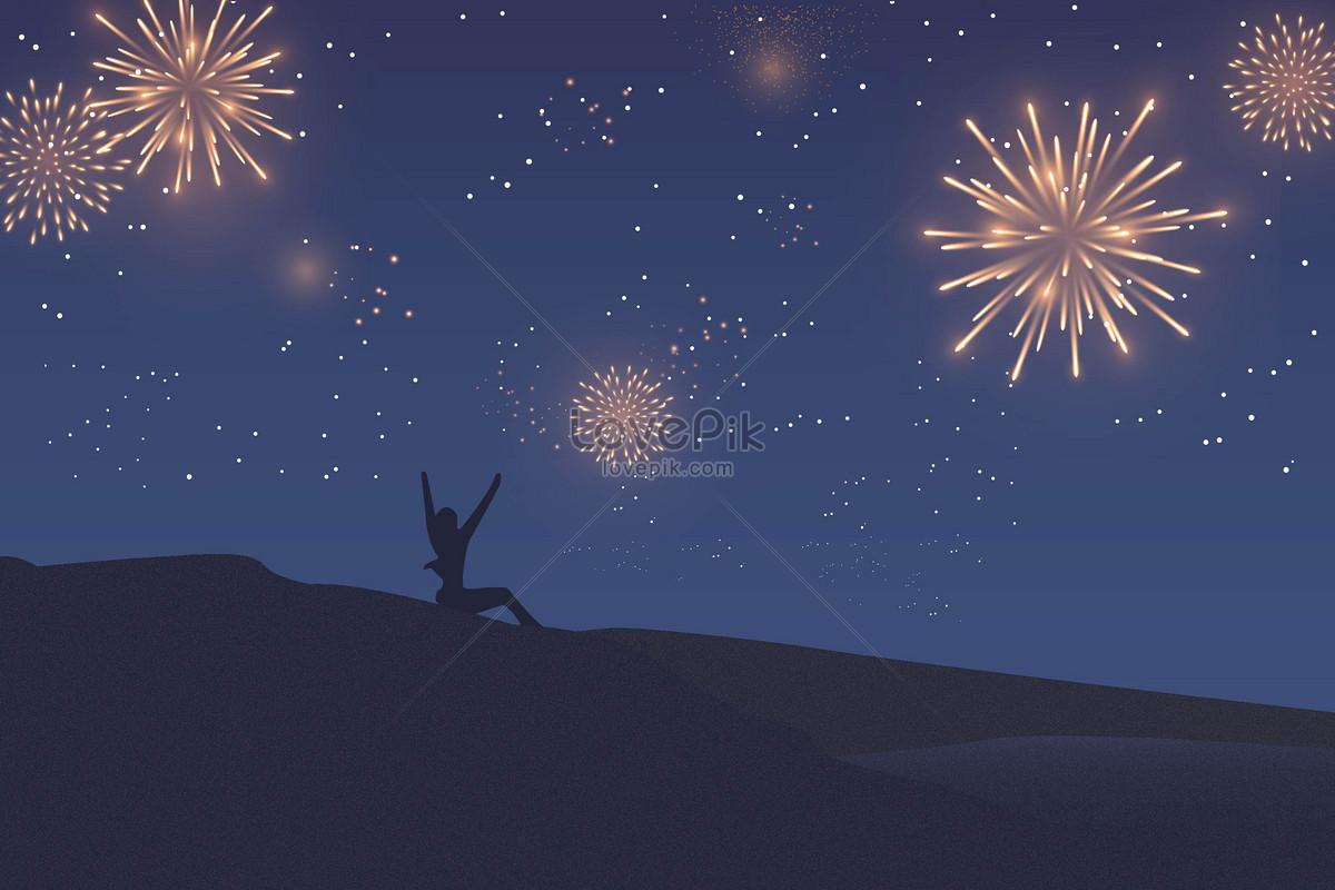 fireworks illustrations in the spring festival illustration