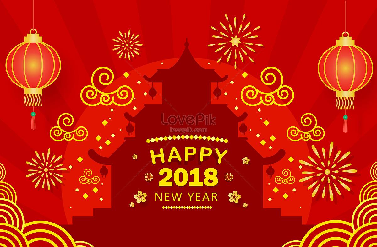 Selamat Tahun Baru Cina Pada Tahun 2018 Gambar Unduh