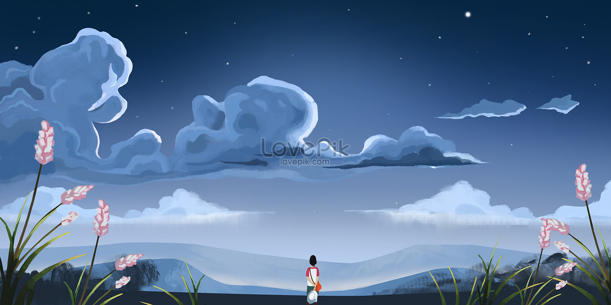 Langit Malam Ilustrasi Pemandangan Romantis Yang Indah Gambar Unduh
