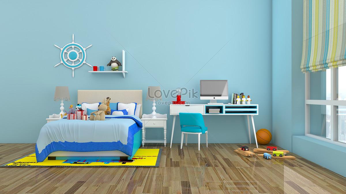 Basit Ve Açık Mavi çocuk Odası Kapalı Ev Arka Plan Resimfotoğraf