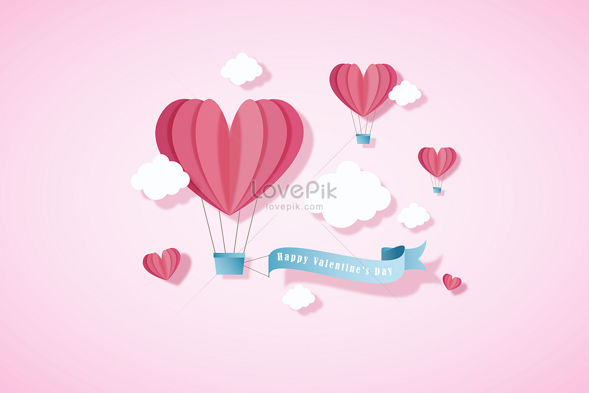 Valentines Day Love Balloon Background Vector Illustration