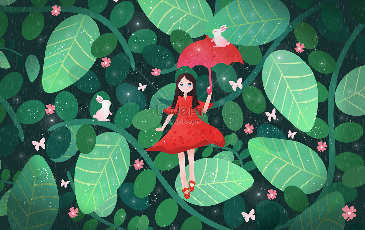Spring Flower Jungle Young Fresh Illustrations Photo Imagepicture