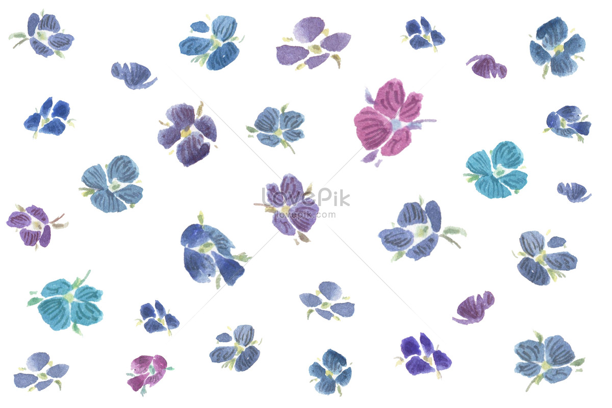 Background Material For Watercolor Blue And Purple Flowers Photo