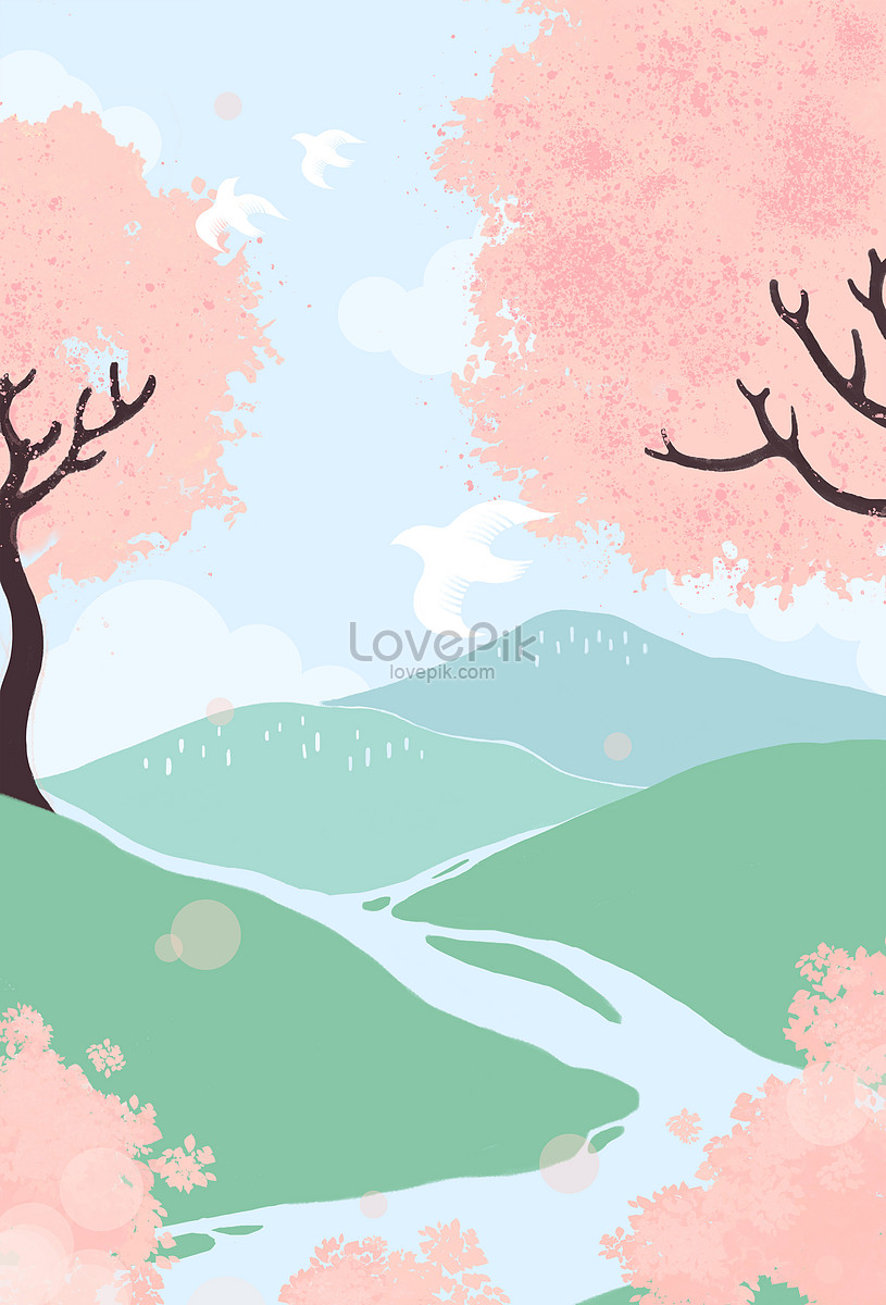 Spring Mountain Illustration Image Picture Free Download