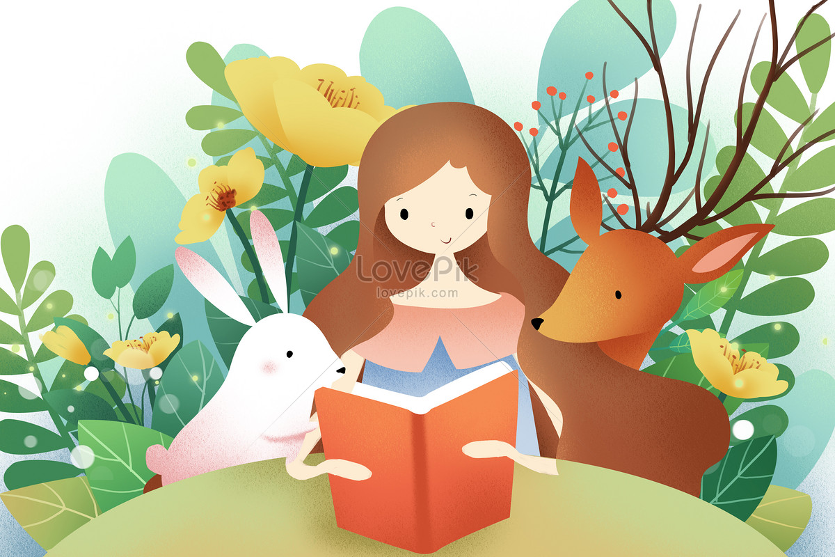 girls and animals reading in the flowers photo image picture free
