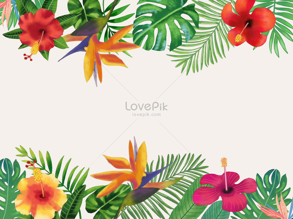 floriculture background of watercolor tropical leaves