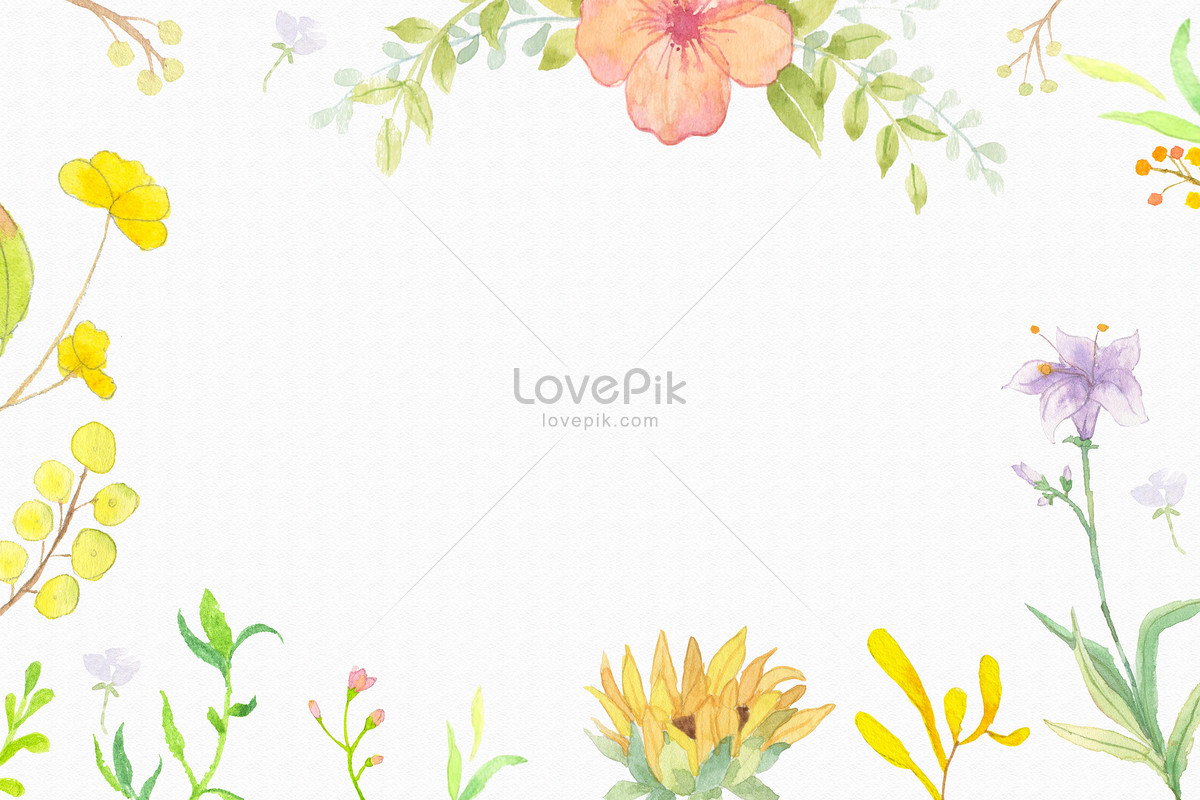 Yellow Watercolor And Flower Background Photo Imagepicture Free