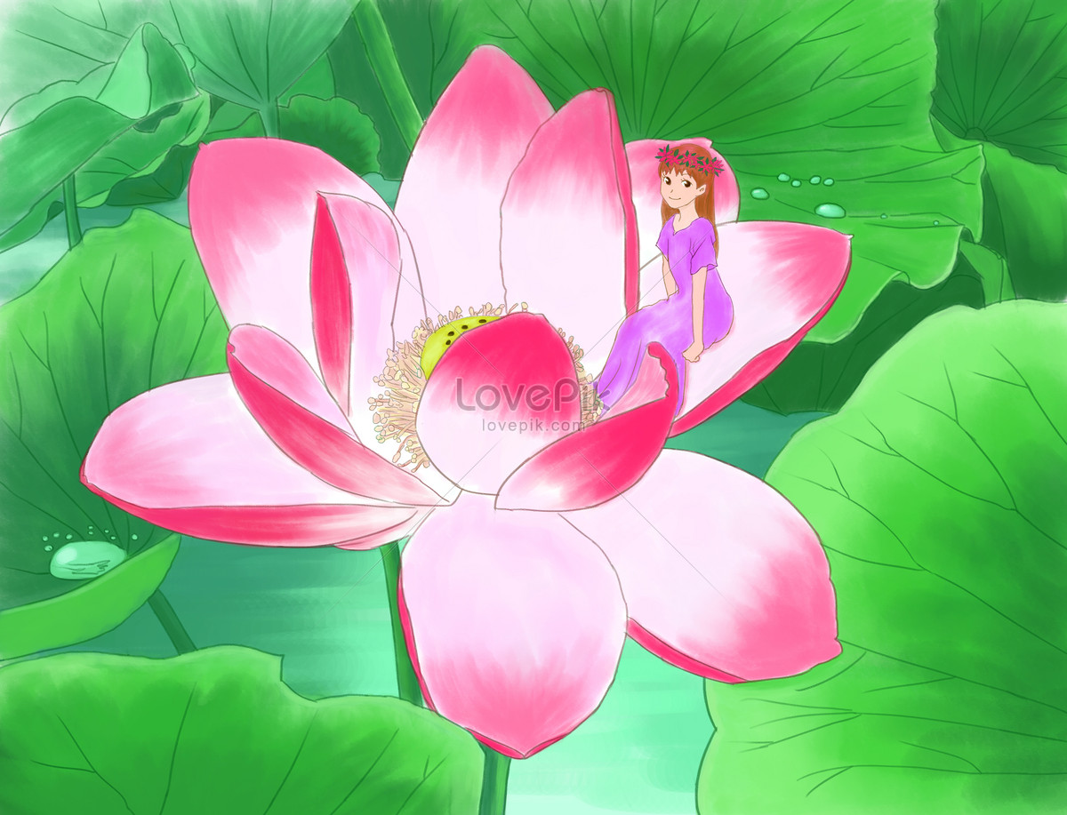 The Girl On The Lotus Flower In Lixia Illustration Imagepicture
