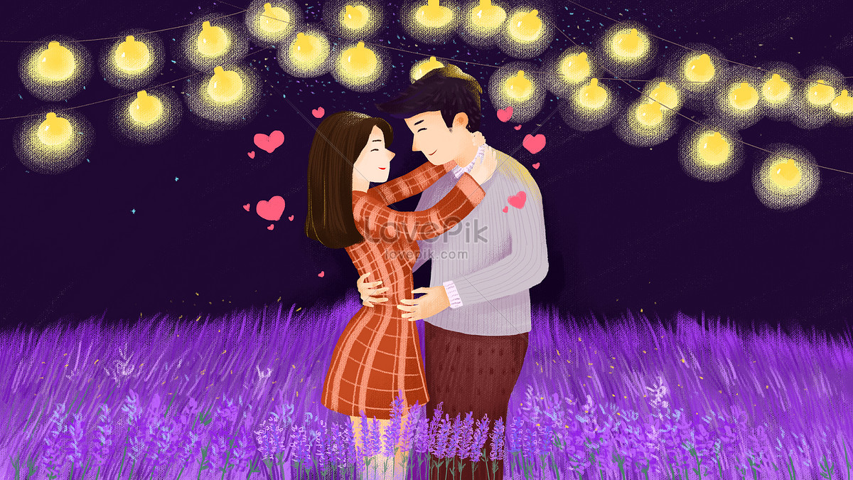 Romantic Valentines Day Lovers Embrace Illustration Image Picture