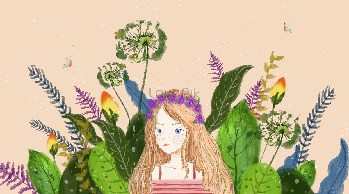 A Beautiful Girl In The Flower Illustration Imagepicture Free