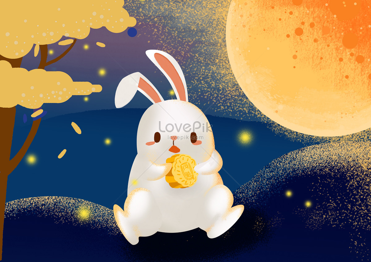 rabbit swimming mid autumn festival illustration image picture free