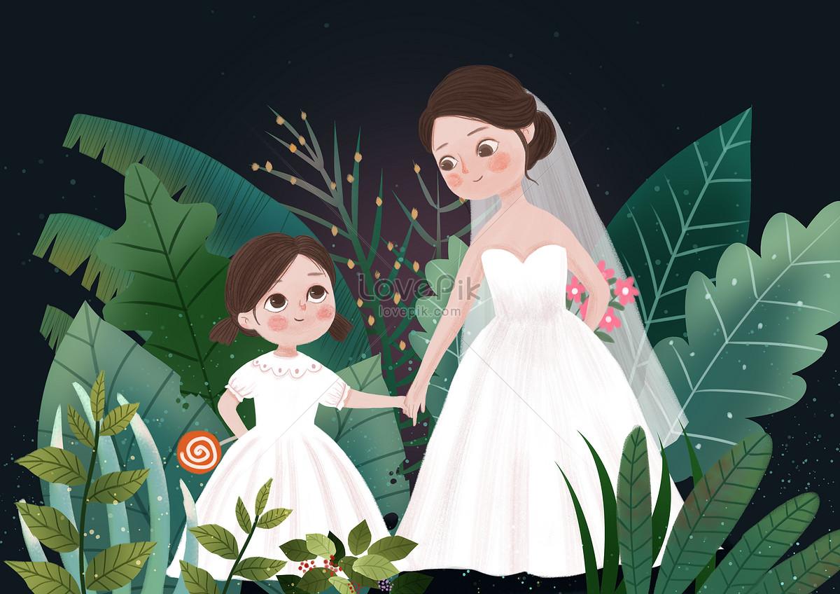 Ibu Dan Anak Perempuan Dalam Gaun Pengantin Gambar Unduh Gratis Imej