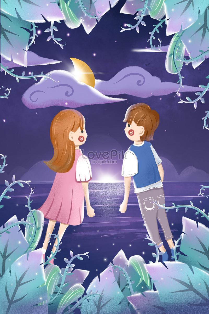 cặp đôi valentine trắng minh họa dễ thương
