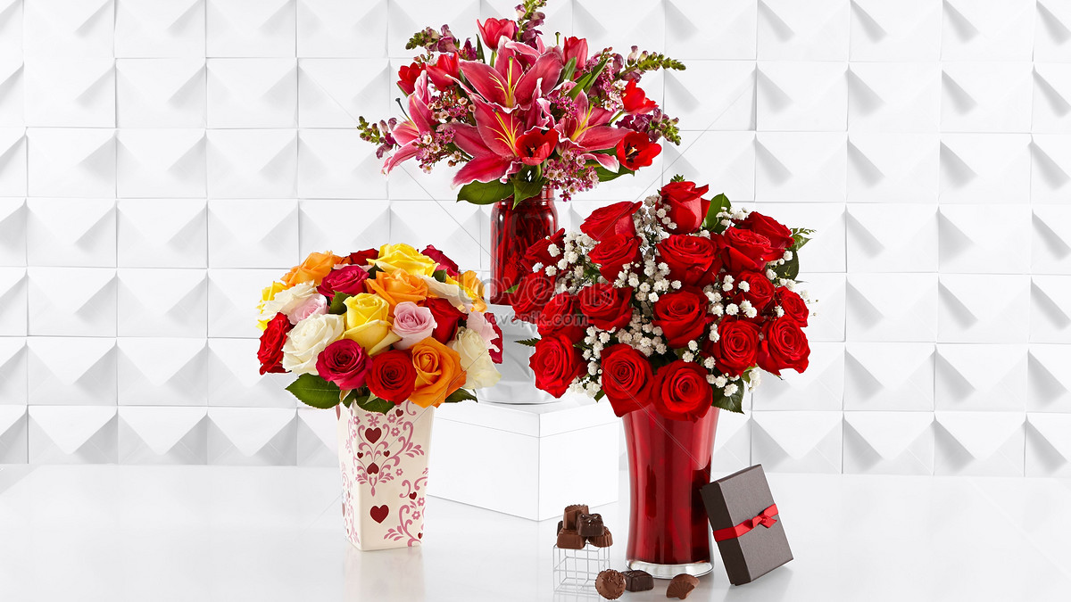 Three Bouquets Of Flowers Photo Imagepicture Free Download