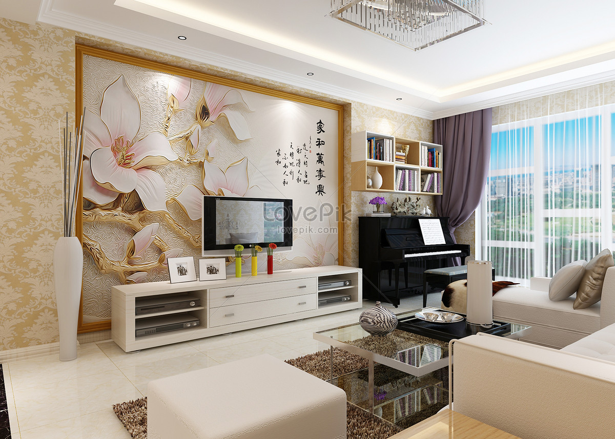 Indoor design of tv background wall drawing room photo image_picture ...