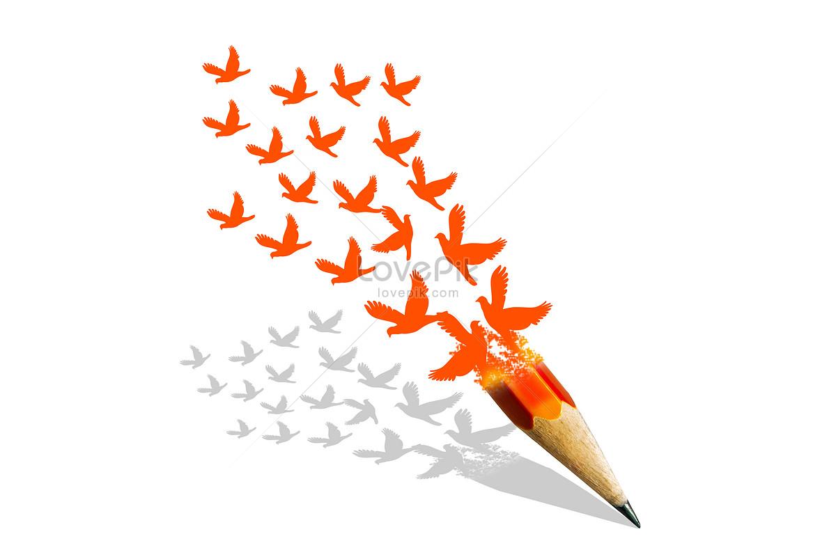 Pensil Yang Menjadi Burung Gambar Unduh Gratisimej 500180469format