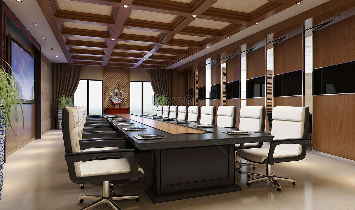 Effect map of pure wood decoration conference room photo ...